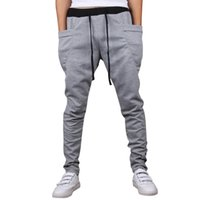 pantalones de chándal únicos al por mayor-WENYUJH 2019 Casual Men Pants Unique Big Pocket Hip Hop Harem Pants Quality Outwear Sweatpants Casual Mens Joggers Hombres Pantalones