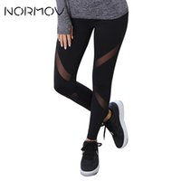 Wholesale yoga pants female for sale - Group buy NORMOV Sports Yoga Pants Tights Women Sexy Mesh Fitness Clothing High Waist Running Gym Leggings Black Classic Trousers Female