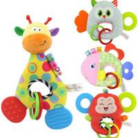 bonecas de pano venda por atacado-Bebê Infantil animal Dos Desenhos Animados Girafa Pega Peixe Chocalhos Boneca de Pelúcia Macia Brinquedos Mordedor Segurança Cuidados Com Os