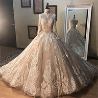 Wholesale plus sized ball gowns resale online - Real Pictures Champagne Long Sleevs High Neck Wedding Dresses Luxury Lace Appliqued Plus Size Saudi Arabic Bridal Gown CPH036