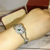 conjuntos de colar cheio venda por atacado-conjunto de colar e pulseira de mulheres de designer de jóias de luxo Estilo aristocrático clássico, luxo cheio de design de pantera de afago de diamante