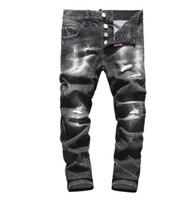 sıkı pantolon modası toptan satış-Yeni 2019 Erkekler Yırtık Kot Yırtık Kot Donanma Pamuk moda Sıkı bahar sonbahar erkek pantolon A8004 PHILIPP PLEIN DSQUARED2 DSQ2 D2