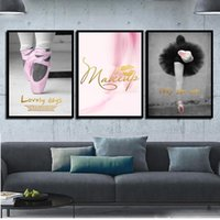ingrosso dipinti balletto-Per Office Home Room Decor Nordic Poster Pink Ballet Shoes Girl Modern Canvas HD Dipinti Wall Artwork Immagini di stampa