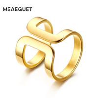 центр моды оптовых-кольцо ювелирные изделия женщины из нержавеющей стали обернуть вокруг прямой линии Центра выше кулака Midi кольцо золотой цвет мода коктейль ювелирные изделия