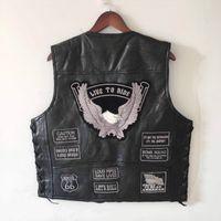 weste wandern schwarz großhandel-Schwarzes echtes Leder Silber und Grau gesticktes Abzeichen Design Wanderweste Winddichte Punk Motorradweste