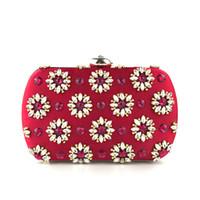 ingrosso borse da sposa strass-Donne rivetto strass sera diamante rosso frizioni borsa da sposa da sposa pochette regalo scatola squisita minaudiere borsa borse da festa