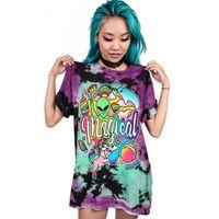 artı boyutu kafatası gömlek kadın toptan satış-Yeni Kafatası Baskılı Kadın T-Shirt Punk Rock Artı Boyutu O-Boyun Severler Elbise Avrupa Tarzı Tee Tops