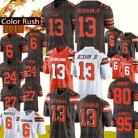 ingrosso giallo jersey di calcio giallo-Browns 13 Odell Beckham Jr Jersey 6 Baker Mayfield Cleveland Brown 24 Nick Chubb 27 Hunt 80 Jarvis Landry 21 Ward Football Jerseys