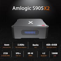 video zor toptan satış-Video Kayıt Android TV kutusu 4 GB 64 GB Amlogic S905X2 Dört Çekirdekli Akıllı Mini PC Sabit Disk Yüklemek Destekler Dual Band Wifi Bluetooth 2G32G