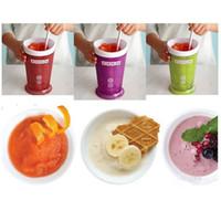 batidos de leche al por mayor-Ventas al por mayor 5 colores Creative New Fruits Juice Cup Fruits Sand Ice Cream ZOKU Slush Shake Maker Slushy Milkshake Smoothie Cup Envío de DHL