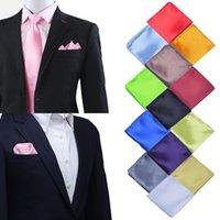 lenços de qualidade venda por atacado-Cor Sólida Do Partido Da Moda Do Vintage de Alta Qualidade Homens Lenços Padrinhas de Bolso Homens Quadrado de Bolso Hanky Negócio de Casamento