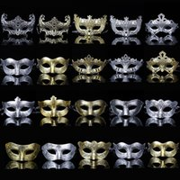 Wholesale scary halloween masks resale online - Party Masquerade Scary Masks Halloween Men Women Plastic Man Mask Dancing Party Golden Sliver Colors Facepiece New Arrival yt L1