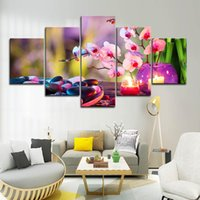 Wholesale canvas prints wall painting purple for sale - Group buy 5PCS Framed Purple Moth Orchid Candle Wall Art Pictures for Living Room Decor Posters and Prints Canvas Painting