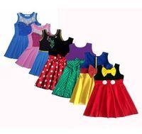küçük kızlar için rahat kıyafetler toptan satış-21 Stilleri Küçük Kızlar Prenses Elbiseler Yaz Karikatür Çocuklar Prenses Elbiseler Rahat Giysiler Çocuk Gezisi Frocks Parti Kostüm CCA11571 10 adet