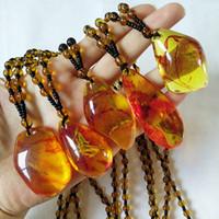 ingrosso gioielli imitazione pietre-Collana con ciondolo in pietra naturale Collana in ambra imitazione vegetale naturale botanica brasiliana naturale per gioielli da donna da uomo Regalo di Natale