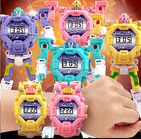 настольные пластиковые дети оптовых-Творческий Деформированные Часы-Головоломка Робот Пластиковые Электронные Дисплеи Стол Развивающие Игрушки Игра Мозга Для Детей Дети