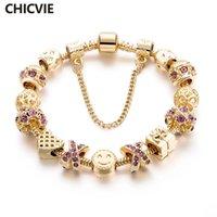 Wholesale beaded purple jewelry set resale online - women bracelet CHICVIE Romantic Gold Color Charm Bracelets Bangles Purple Crystal Smile face Beaded Women Bracelet Brand Jewelry SBR160131