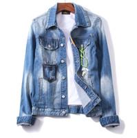 ingrosso giacca del motociclo della chiusura lampo-Giacche di jeans strappati Giacche di jeans Cerniere Streetwear Distressed Motorcycle Biker Jeans Jacket Cappotto di primavera e autunno PHILIPP PLEIN DSQUARED2 DSQ2 D2