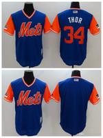 ingrosso jersey thor-Maglia da uomo di New York Men Mets 34 Maglietta da baseball di Nick soprannominato Thor