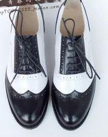 ingrosso scarpe piatta-Four Seasons Hot Vera pelle Nero + bianco sapato donna oxford scarpe tempo libero Derby Scarpe piatte Wing Tip Business Shoe masculino