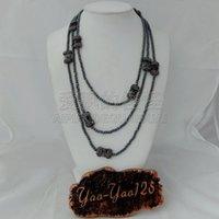 rutilierter kristall großhandel-Damen 75 '' 4mm Hematite Rutilated Crystal Lange Halskette