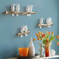 decoraciones para pájaros al por mayor-Estilo europeo 3D Bird Decoración Gancho DIY Simple Abrigo de Pared Abrigo Rack Dormitorio Sala de estar Colgante de Pared Gancho de la Llave Marco Decoración del hogar