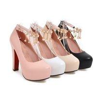 topuk ayakkabıları eu34 toptan satış-Yeni Varış Sıcak Satış Kampanyalar Süper Moda Noble Sweety Stiletto Kız Yaz Deri Asil Boncuk Püsküller Gelgit Parti Topuklu Ayakkabı EU34-39