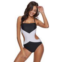 Wholesale plus size strappy swimwear for sale - Plus Size Women Bodysuit One Piece Strappy Bikini Color Block Swimwear Beachwear Stylish Summer Beachwear Flawless Swimsuits