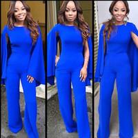 elegante mono azul al por mayor-Elegante Royal Blue Jumpsuit Vestidos de noche formales con tapa de bolsillo Mujeres Vestido de ocasión formal para baile por encargo