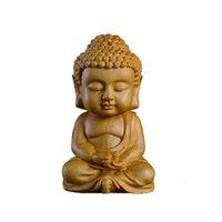 buddha chinês ornamentos venda por atacado-Novo 7 * 4 CM Chinês Caixa Galho Buda Escultura Em Madeira Ornamento Interior Do Carro Budismo Figura Hand-craft Interior Acessórios Para Carros Presentes