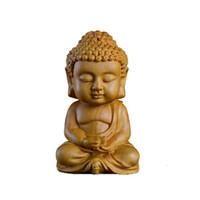 çince saray süsleri toptan satış-Yeni 7 * 4 CM Çin Kutusu Dal Buda Ahşap Oyma Araba İç Süs Budizm Şekil El-zanaat İç Araba Aksesuarları Hediyeler