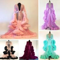 beige maxi kleider ärmel großhandel-Luxus Sexy Spitze Nacht Robe Frauen Kimono Nacht Maxi Kleid Kleid Mesh Langarm Pelz Babydoll Party Nachtwäsche Nachwuchs Roben