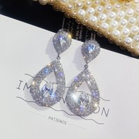büyük şirin moda küpeler toptan satış-Sevimli Kadın Büyük Su Damlası Küpe Moda Gümüş Altın Düğün Küpe Takı Kadınlar Için Vintage Uzun Dangle Küpe