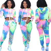 Wholesale basketball ties online - Gradient Tracksuit Women Camo Tie dyed Hooded Shirt Pants set Midriff Outdoor Sports Suit Clothing Set LJJO6756