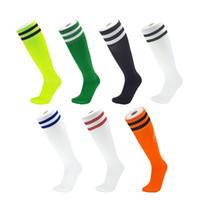 calcetines de tubo para adultos al por mayor-Calcetines de fútbol para niños Medias hasta la rodilla para adultos Calcetines largos y cómodos Calcetines deportivos de poliéster Elástico Calcetines transpirables 13 colores M112Y
