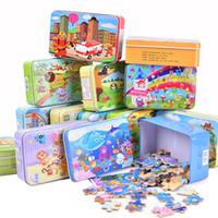 yeni çocuk oyuncakları toptan satış-10 adet / grup Yeni 60 Parça Ahşap Bulmaca Çocuk Oyuncak Karikatür Hayvan Ahşap yapboz Bulmacalar Çocuk Erken Eğitici Oyuncaklar için Noel Hediyesi QM-e910