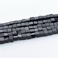 ingrosso monili quadrati neri del branello-Commercio all'ingrosso 4mm quadrato-forma nero naturale perline di pietra collana di gioielli braccialetto fai da te perline distanziatore per monili che fanno