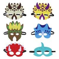 mascarilla de espuma al por mayor-6pcs máscaras del partido del dinosaurio mascarada y máscara de la máscara de la espuma de la máscara del dinosaurio de Halloween para los niños temáticas del partido favorece la decoración