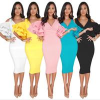 Wholesale modest prom dresses cap sleeves resale online - 2019 Modest Short Party Dresses Tea Length Satin Off Shoulder Arabic Dubai Cheap Evening Dress Prom Cocktail Gowns S