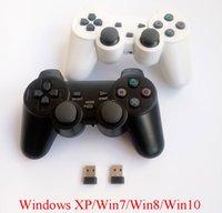 windows xp oyunları toptan satış-2adet bilgisayar Windows XP için PC-360 modu ve çift titreşim ile kablosuz gamepad PC oyun denetleyicisi 2.4Ghz joystick / 7/8/10 MX191220