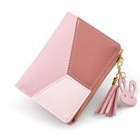 kadınlar için moda cüzdanlar toptan satış-Yeni Varış Cüzdan Kısa Kadın Cüzdan Fermuar Çanta Patchwork Moda Panelli Cüzdan Trendy Coin Cüzdan Kart Sahibinin Deri