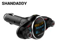2gb car mp3 al por mayor-BT08 Bluetooth Car Kit Manos libres Transmisor de FM Inalámbrico A2DP AUX Audio Reproductor de MP3 para automóvil 1.3 pulgadas LED de pantalla USB Bluetooth