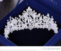 ingrosso velo di tallone d'argento-Perle di strass barocche di lusso Cuore diadema nuziale Corona Diadema di cristallo argento Velo Diademi Accessori per capelli da sposa Copricapi