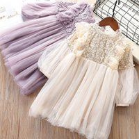 Wholesale baby girl long sleeved dresses resale online - Girls dress lace spring and autumn new long sleeved baby princess dress children s fashion mesh dress