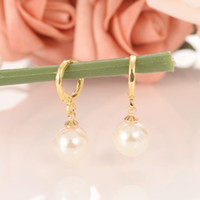 ingrosso orecchini di goccia della sfera della perla-Ciondolo perline con pendenti in oro 18 K Orecchini pendenti in oro GF per perline simulate