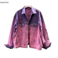 jeans coreanos morados al por mayor-Ripped Denim Punk Rock Chaqueta colorida Nuevas mujeres Hip Hop Holes Púrpura Jeans abrigo Abrigos de gran tamaño Coreano LT046S50