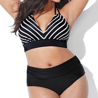 ingrosso alte vita nuota più il formato-Taglie forti Benda a righe Separa Bikini Donna Vita alta Costume da bagno Tuta da bagno Abbigliamento da nuoto in due pezzi