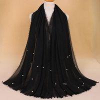 гладкие джерси-шарфы оптовых-189*100cm Plain Jersey With  Hijab Wrap Cotton Elastic Islam Shawls Maxi Scarf Muslim Headband Foulard Sjaal
