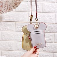 Wholesale cute neck lanyard for sale - Group buy Cute Cartoon Ear Letter Happy Dream Coin Pusre with Lanyard Neck Strap Card Holder Purses Name Credit ID Card Bag Party Favor RRA2354