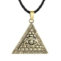 ingrosso antico egiziano-A21 Vintage Ancient Egyptian Pyramid All-Seeing Evil Eye Illuminati Pendnat Necklace for Men and women